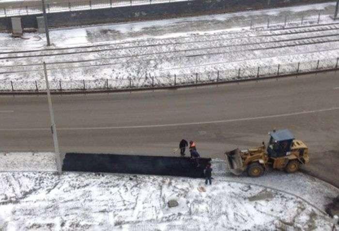 Укладання асфальту поверх снігу (27 фото + 2 відео)