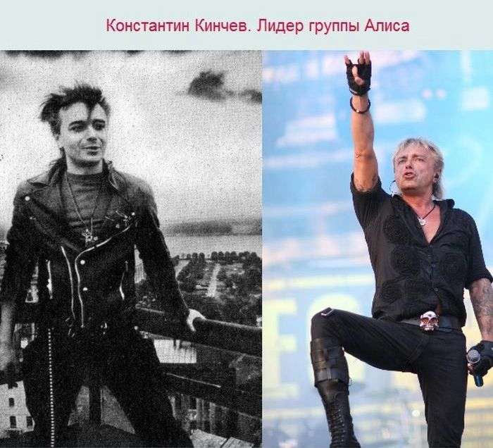 Солісти російських рок-груп у стилі тоді і зараз (7 фото)