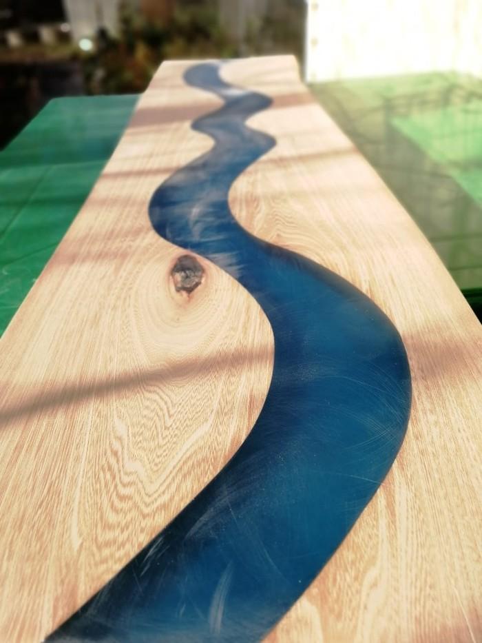 Как мы делали стол - ручей из слэбов и эпоксидной смолы мастерская