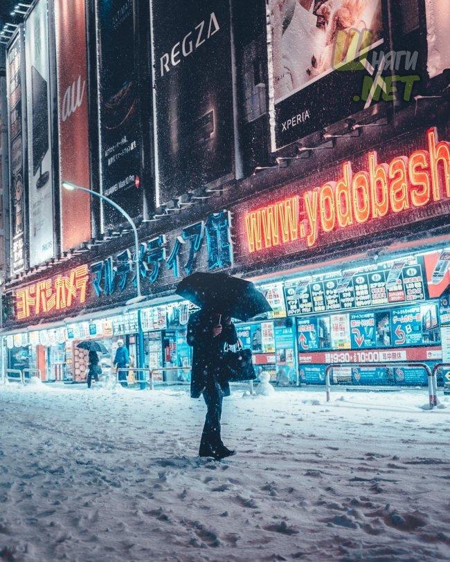 Яркий и снежный Токио, Япония токио, япония